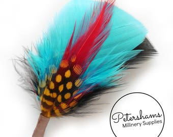 Men's Turquoise & Black Hat Feathers Millinery Mount (Turkey, Hackle and Spotted Guinea Feathers)