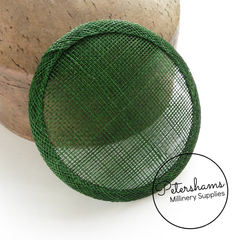 10.5cm Round Sinamay Fascinator Hat Base for Millinery /& Hat Making Bottle Green