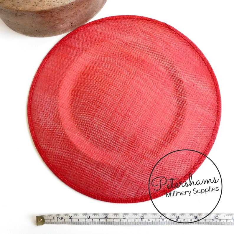 Extra Large 29cm Round Saucer  Plate Sinamay Fascinator Hat Base for Millinery Poppy Red