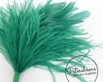 Ostrich & Stripped Coque Feather Millinery Fascinator Hat Mount - Teal