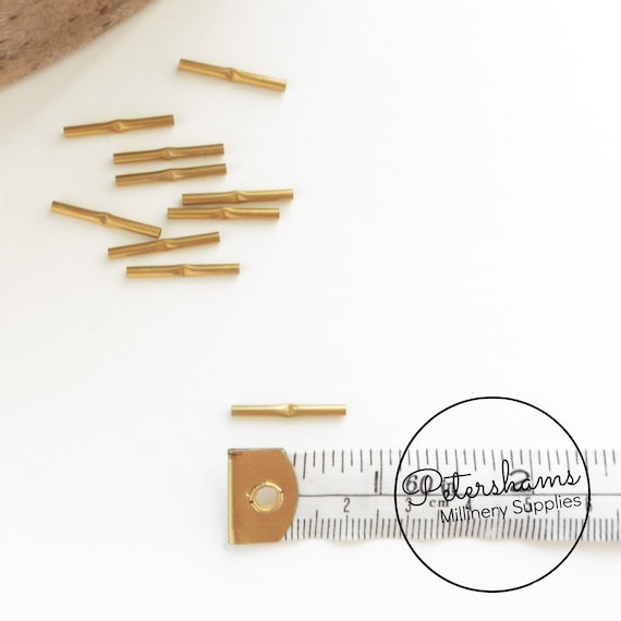 Brass Metal Wire Joining Ferrules for Millinery Hat Wire 10 Pieces