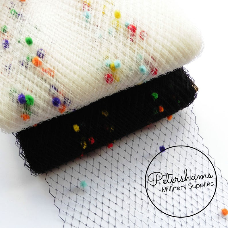 1.09 yards millinery 1m Rainbow Dotted Veiling 23cm9 inch wide for fascinators - Ivory