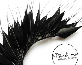 Large Spikey Goose Feather Wired Millinery Hat Mount - Black