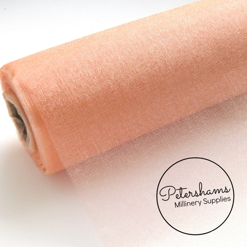 29cm Peach Wide Shimmer Organza Fabric for Millinery /& Crafts 1 Metre 11.4 Inch