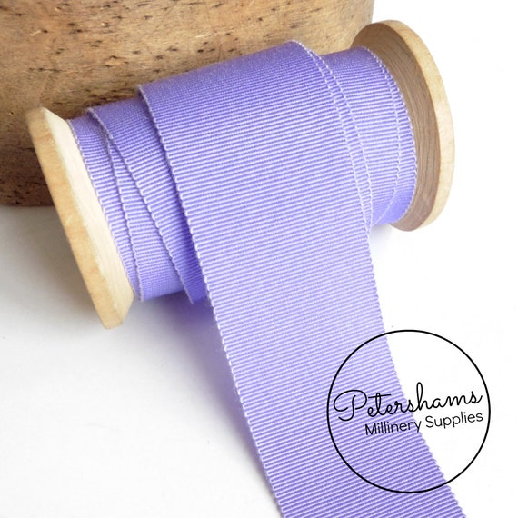 "BTY 1/"" Lavender vintage cotton rayon petersham grosgrain ribbon millinery hat"