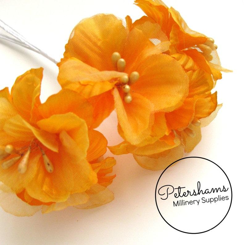 5 Satin Organza Artificial Mini Hibiscus Flower Picks For Etsy