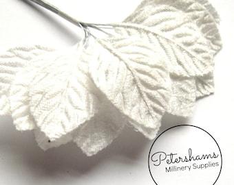 12 Small White Velvet Leaves for Tiara Making, Hat Trimming & Millinery