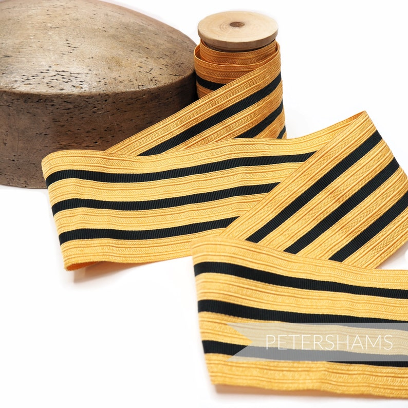 65-70mm Vintage 4-Stripe Black /& Gold Military Braid Ribbon for Millinery and Hat Making 1m Old Gold