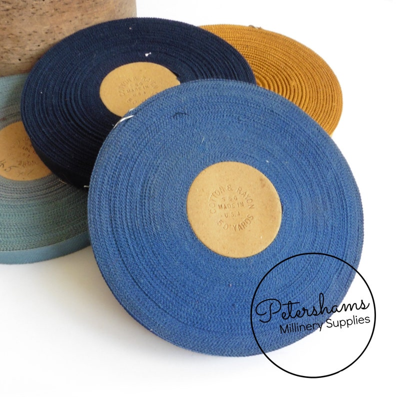 Navy Blue Vintage 15mm No.3 Cotton and Rayon S/&G Millinery Petersham Ribbon 45m Roll