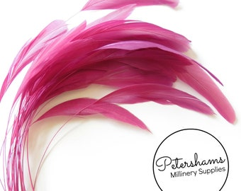 Loose Stripped Coque Feathers (Pack of 10) for Millinery & Fascinators - Cerise Pink