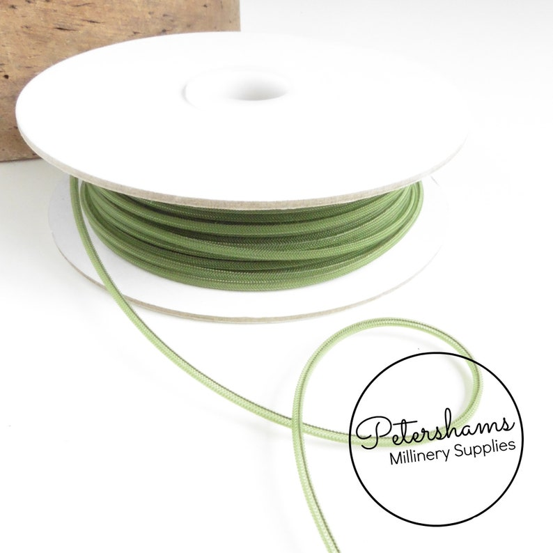 2.5mm Tube Millinery Crin Millinery Crinoline, Horsehair Braid and Fascinators Moss Green for Hats