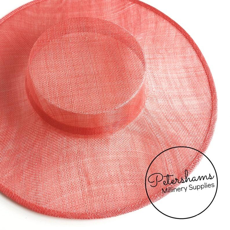Large Brim Sinamay Boater Fascinator Hat Base for Millinery /& Hat Making Coral