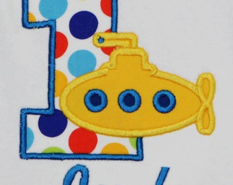 e0cf0cba1 Yellow Submarine Birthday Tee, Submarine Birthday Shirt, Submarine 1st  Birthday Bodysuit, Custom, ANY AGE/COLORS