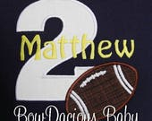 Football Birthday Shirt Or Bodysuit Raglan Personalized 2nd ANY AGE Custom Any Colors