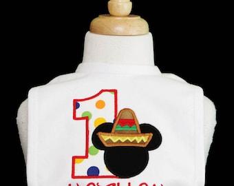 Boys Fiesta Mickey Personalized Birthday Bib 168ba1fbec8