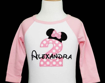 Minnie Mouse Second Birthday Shirt 2nd 2 Years Old Im Twodles Theme Party Custom Any Age Colors