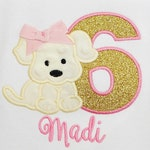 Girl's Puppy Birthday Shirt, Dog Birthday Shirt, Puppy Birthday, Pink and Gold, Custom, ANY AGE/COLORS
