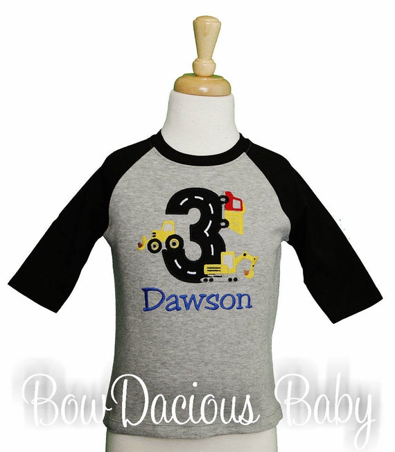 Dump Truck Shirt Construction Birthday Digger Toddler Gift Boy Baby 3rd For Kids Personalized Custom
