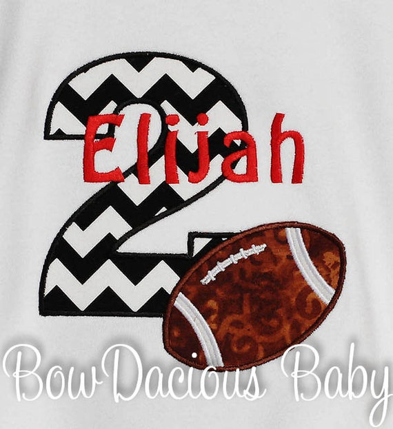 Boys Football Birthday Shirt Personalized Number Monogrammed Custom Boy 2nd Any Age