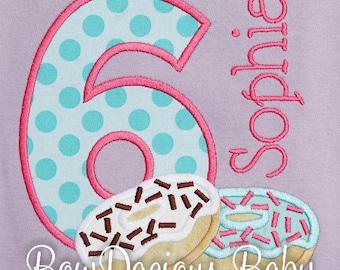 Donut Shirt, Donut Birthday Shirt or Bodysuit, Breakfast Birthday, Girl Birthday, Donut Theme Party, Custom, Any Age, Any Colors