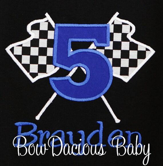 Boys Racing 5th Birthday Shirt Checkered Flag