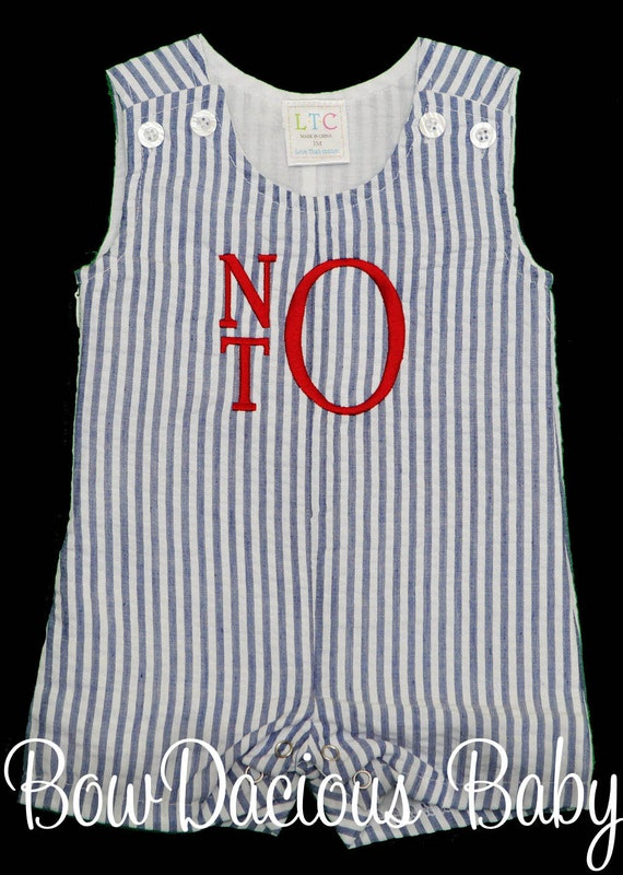 Personalized Toddler Jon Jon seersucker shortall boys gingham outfit Boys 4th of July outfit Monogrammed Boys Seersucker Jon Jon