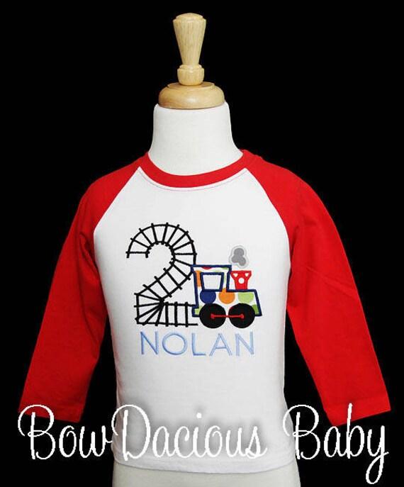 Train Birthday Shirt Toddler Boy Number ANY AGE T Party Bodysuit Raglan