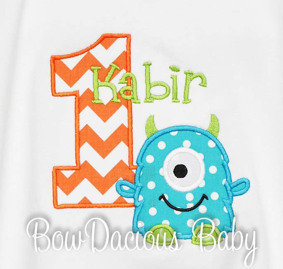 Monster Birthday Shirt Number Monogrammed Boys Girls TankBodysuitRomper Gift