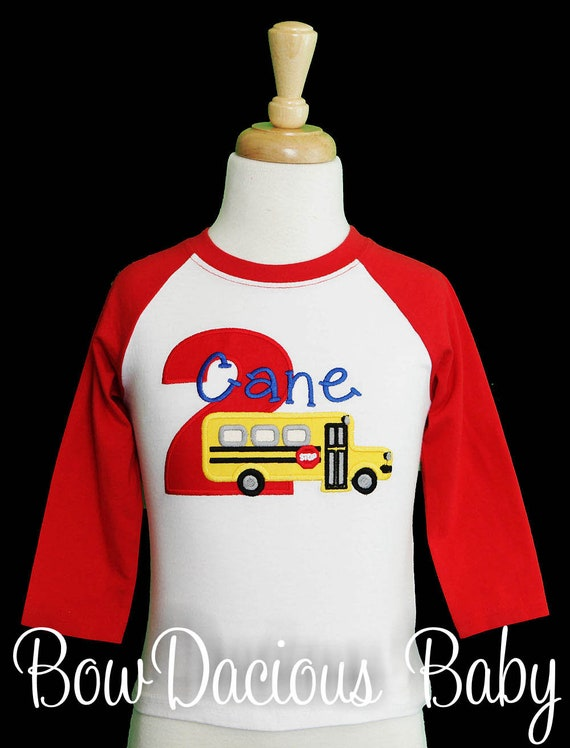 Birthday Boy Shirt 2nd School Bus Personalized Boys Second With Childs Name And Age Custom Any Colors