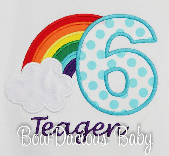 Rainbow Birthday Shirt Girls Personalized Or Bodysuit Party Custom ANY AGE