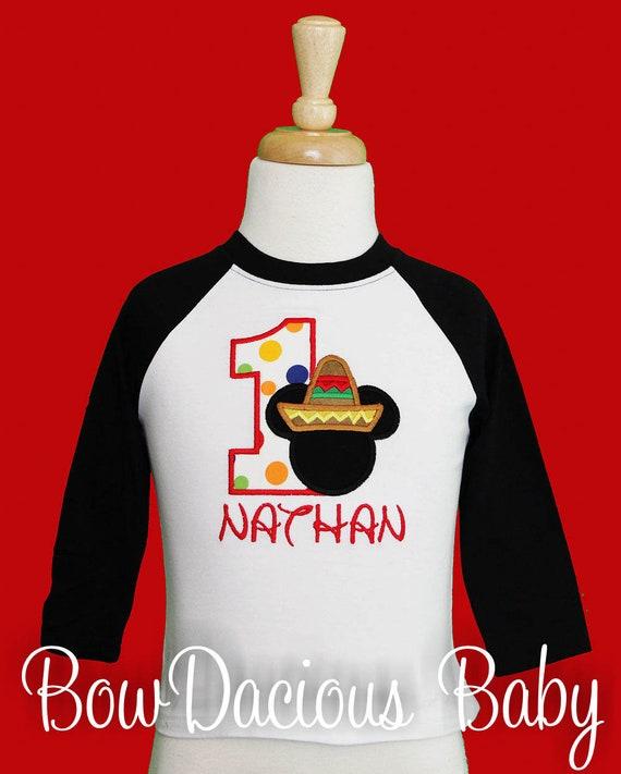 Boys Fiesta Mickey Personalized Birthday Shirt 1st Sombrero Party Custom Any Age Colors