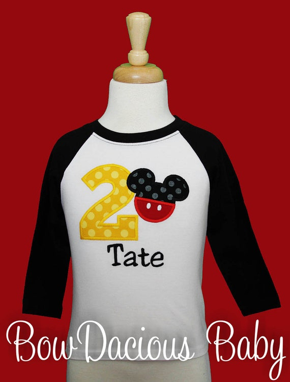 5ae8eb603 Embroidered Boys Mickey Mouse Birthday Shirt, Boys Second Birthday Shirt,  I'm 2 Mickey Birthday Shirt, Custom, Any Age, Any Colors