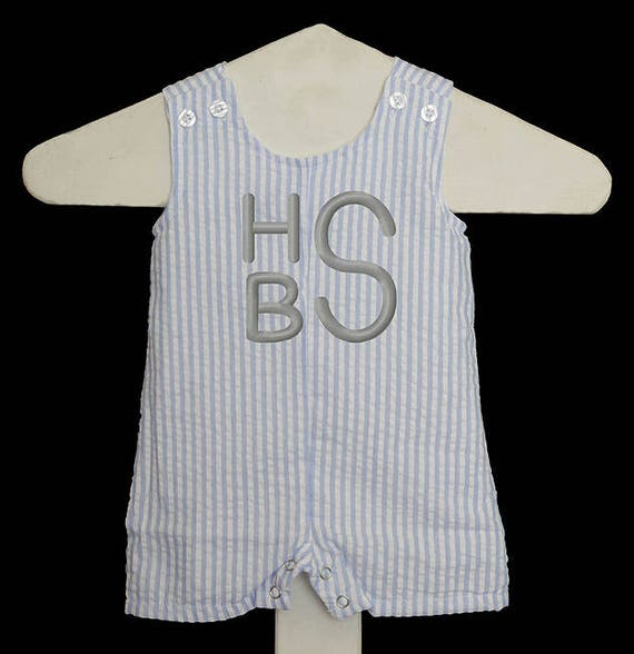 c8572fefb Seersucker Outfit, Boys Shortall, Coming Home Outfit, Summer Baby Clothes,  Custom Boys Seersucker Romper, Boys Jon Jon, Monogrammed JonJon