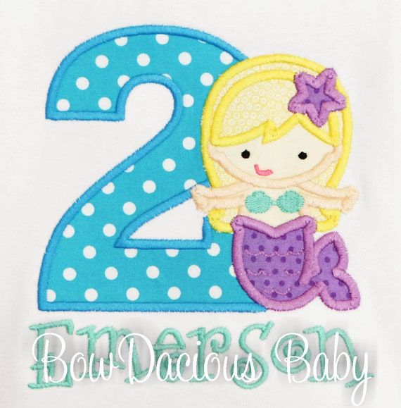 Mermaid Birthday Shirt Personalized 2nd Tee Party Second Outfit Any Age And Colors Custom