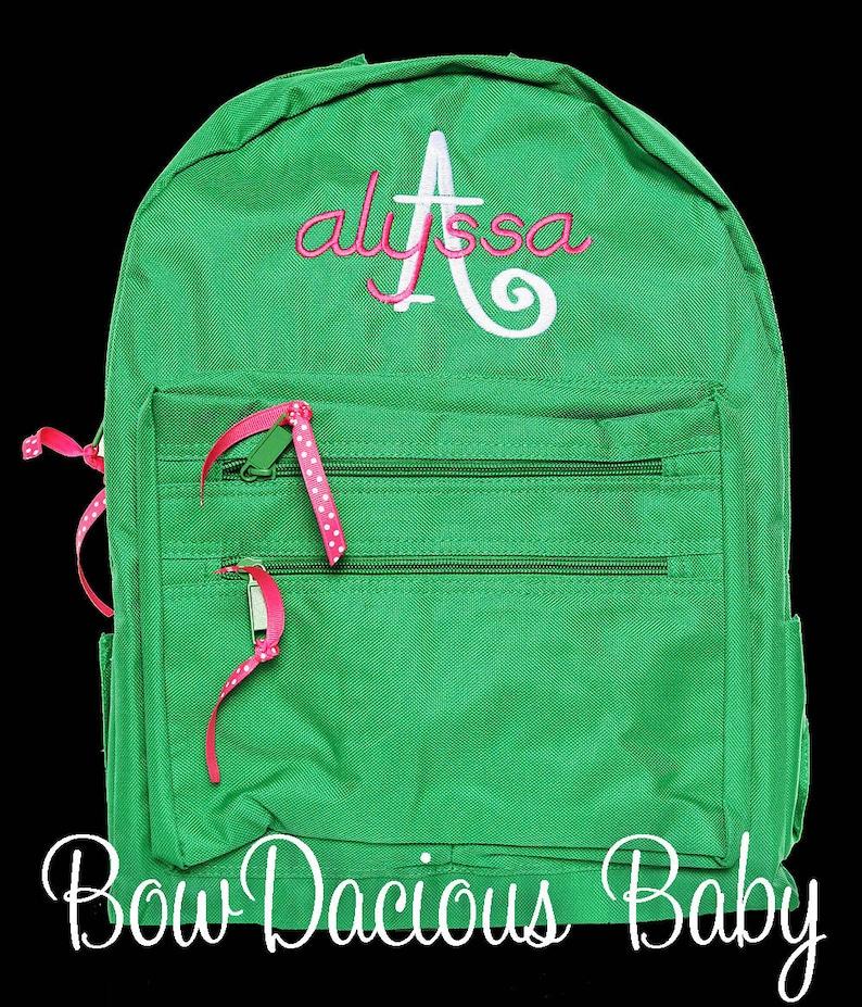 Personalized Book Bag Girls School Backpack Child Bag ANY COLORSFONT Kid Back Pack Monogrammed Solid Color Backpack Custom Backpack
