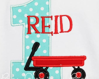 Boys, Red Wagon Birthday Shirt or Bodysuit, Wagon Birthday Shirt, Any Age, Made to Match Personalized Invitation, Girls or Boys