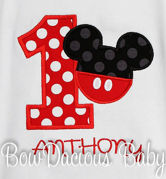 Boys Mickey Mouse Birthday Shirt Number