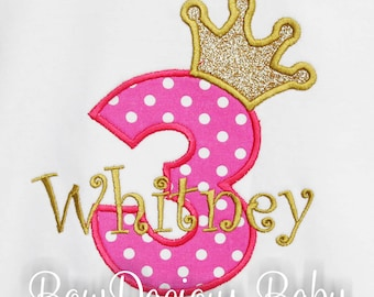 Princess Birthday Shirt or Bodysuit, Girl's 3rd Birthday Bodysuit, Princess 3 Birthday Shirt, Hot Pink and Gold Birthday Shirt