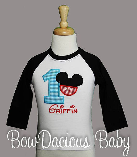 Mickey Mouse Birthday Shirt Number Or Bodysuit 1st Custom Any Age Colors