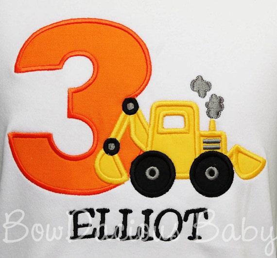 Backhoe Birthday Shirt Toddler Construction Or