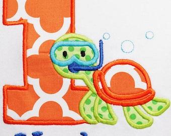 Turtle Birthday Shirt, Sea Turtle Birthday Shirt, Snorkeling Turtle Birthday Shirt, Turtle Birthday Bodysuit, Ocean Birthday Shirt, First