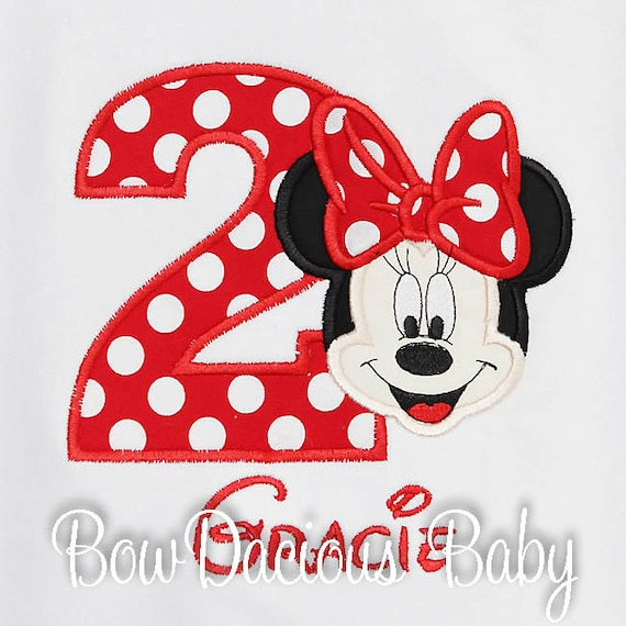 Minnie Mouse Birthday Shirt Monogrammed Personalized Face