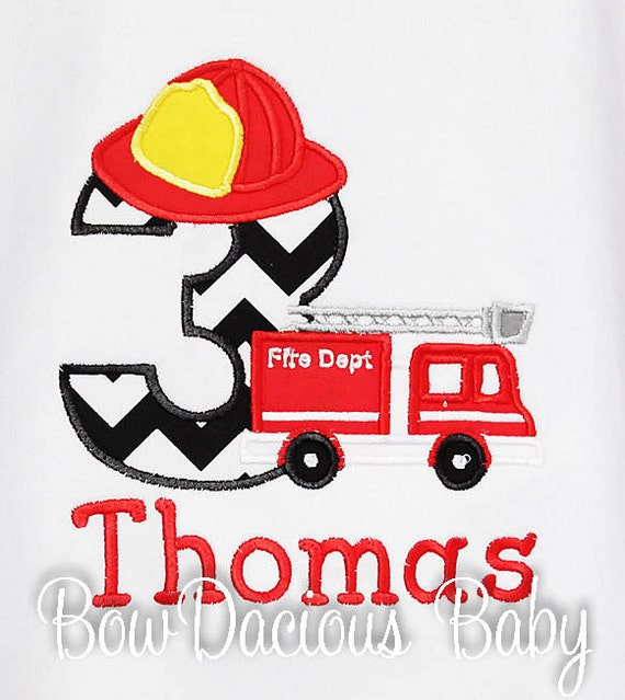 Firetruck Birthday Shirt Boys Fire Engine Personalized Truck Custom Made To Your Specifications