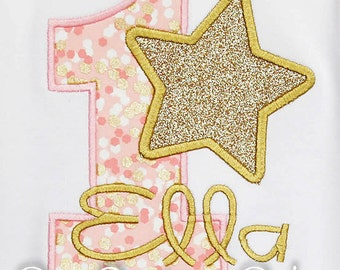 Star Birthday Shirt, Little Star, Pink and Gold Birthday Shirt, Girl Star, Boy Star Embroidered Applique Shirt or Bodysuit, Custom, Any Age