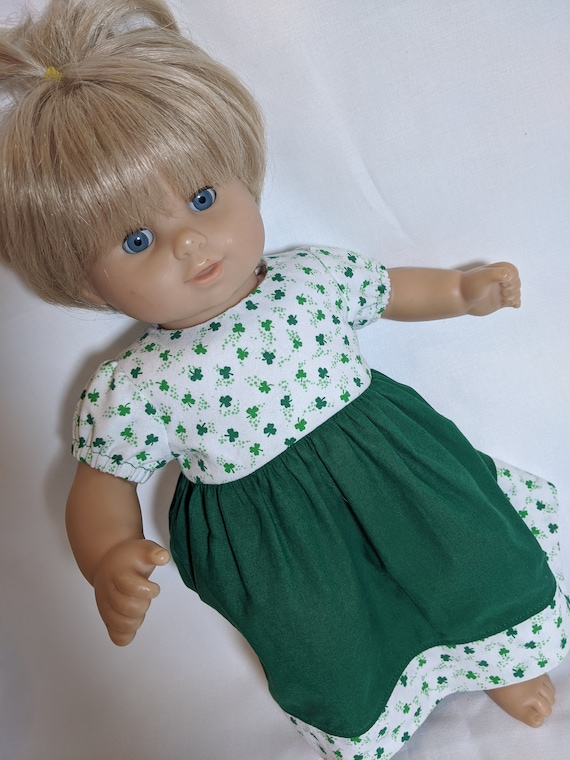 St Patricks Two Shamrocks Sweater Handmade for Bitty Baby Doll Made in USA