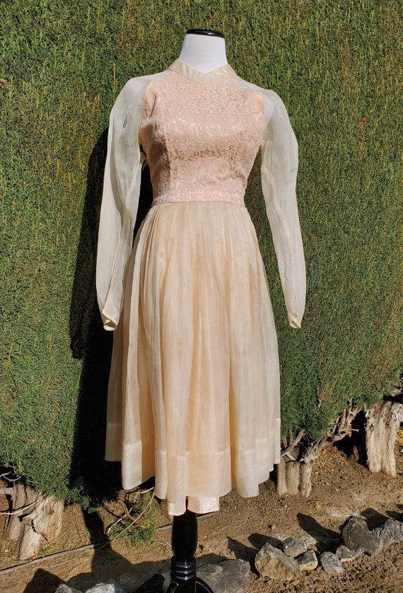 Vintage 50's/60's Peach Formal Prom Dress AS-IS