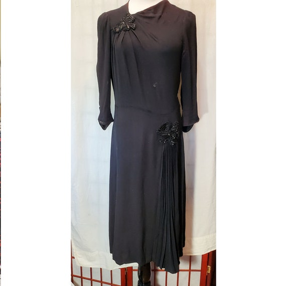 1930's Black Dress With Beaded Appliques AS-IS
