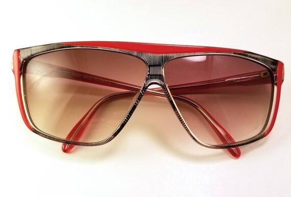fe078e9eeb3 Vintage Carlo Alberto NOS 1980 s Red Black Sunglasses