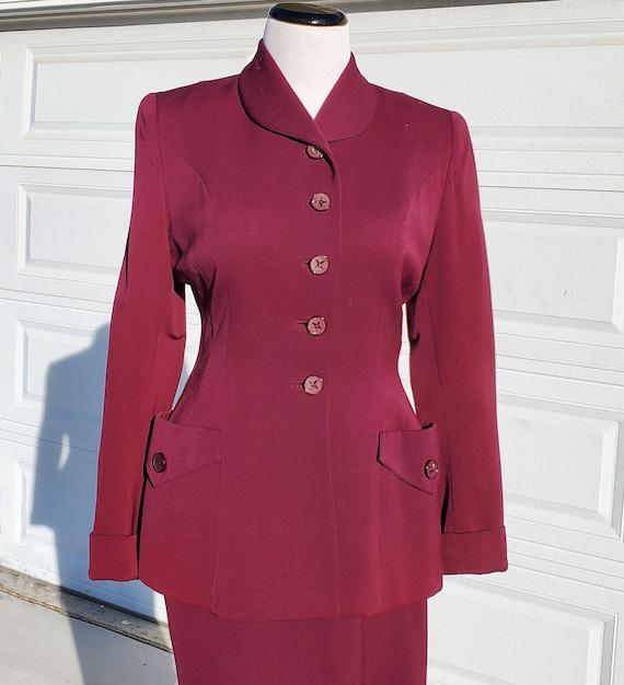 40's Rothmoor Plum 2 Piece Wool Gabardine Skirt Su
