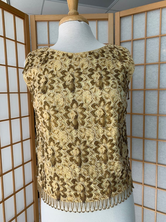 1950's Gold Floral Beaded Top As Is